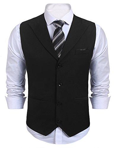 Burlady Herren Weste Anzugweste Basic Slim fit Western Weste V Ausschnitt Elegent Anzug Business Hochzeit