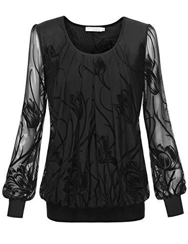 BAISHENGGT Damen Langarmshirt Rundhals Falten Shirt Stretch Tunika Schwarz #2 X-Large