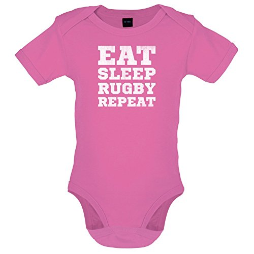 Eat Sleep Rugby Repeat - Lustiger Baby-Body - Bubble-Gum-Pink - 3 bis 6 Monate (Baby-jungen-rugby)