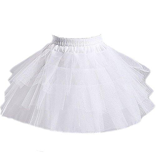 Bulutu® Ragazze crinolina sottoveste bianca Borse laterali