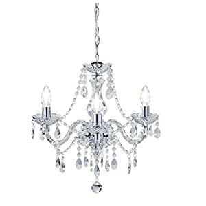 Tuscany 3 Light Ceiling Chandelier Acrylic Droplets Clear by Kliving