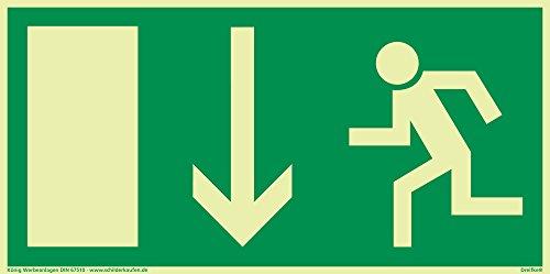 Schild Notausgang Pfeil nach unten langnachleuchtend 297x148mm PVC selbstklebend gemäß BGV 8A (Fluchtwegschild Notausgang Rettungszeichen Rettungsweg Rettungsschild) Dreifke®