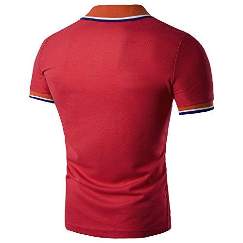 Herren Polo Kontrast und Streifen Kragen Baumwolle Sommer Glestore XXL-L Rot