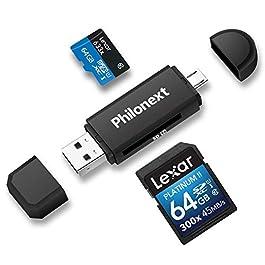 Philonext – Lettore di schede di Memoria SD/Micro SD e Adattatore da Micro USB OTG a USB 2.0, con Spina USB Standard e…