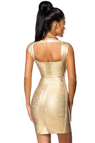 Bandage Kleid mit Rückenausschnitt und Metallic-Beschichtung in 2 Farben A14021 gold (Sw 31)