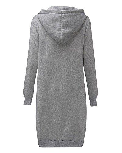 Femme Hoodies Sweatshirt Avec Capuche Chaude Casual Veste Sweats Cardigan Longue Manteau Gris Clair