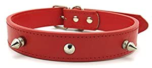 Collier chien rivet cloute Cuir rouge 49 Cm Reglable patte