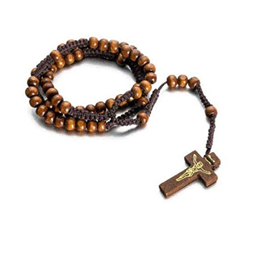 Kreuz Anhänger Rosenkranz Kette Maria Jesus Holzperlen Perlen Holz Halskette - Cp-holz
