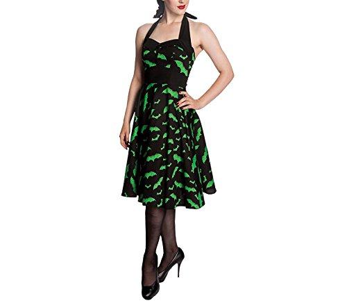Hell Bunny - Vestido - para Mujer Schwarz mit grünen Fledermäusen 54