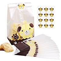 100Pcs Resealable Cookies Bags Clear Treat Bags and 108Pcs Cute Dog Stickers