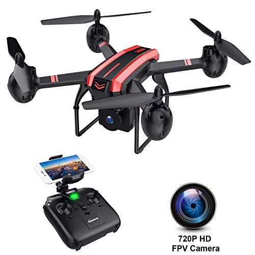 SANROCK X105W Drohne mit 720P HD Kamera für Kinder Anfänger Drohne FPV ° Weitwinkel RC Quadrocopter, Headless-Modus, Höhenlage halten, Schwerkraftsensor-Steuerung, Notlandungsstabiles Fliegen
