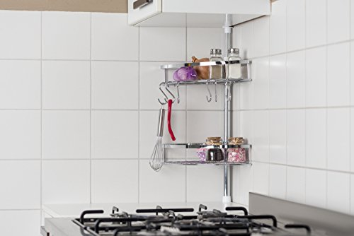 Alpina ad altezza regolabile per contenitori da cucina, in acciaio INOX, 2ripiani