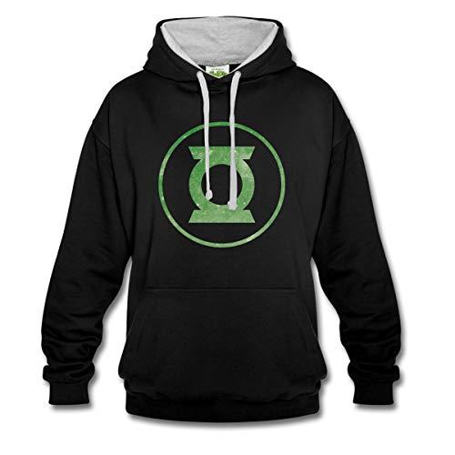 Spreadshirt DC Comics Justice League Green Lantern Logo Kontrast-Hoodie, S, Schwarz/Grau meliert -