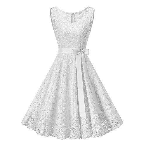 MIRRAY Damen Vintage Ärmellose Kleid Kleider Formale Hochzeit Brautjungfer Spitze Lange Spitzenkleid (Y-Weiß,XX-Large/EU40) Zebra Formale Kleider