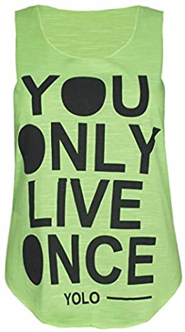 Womens Yolo You Only Live Once Print Ladies Sleeveless Scoop Neckline Stretch T-Shirt Vest Top Fluorescent Green Size 8 -