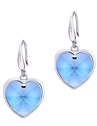Neoglory Jewellery Swarovski Eléments Or Platine Forme Cœur Boucles d'Oreilles