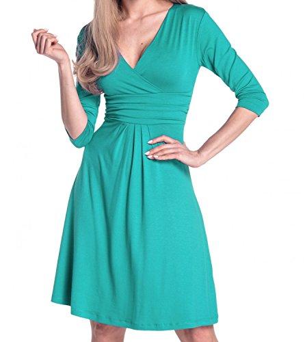 Glamour Empire Damen Kleid Tiefer V-Ausschnitt Sommerkleid Cocktailkleid 282 Teal