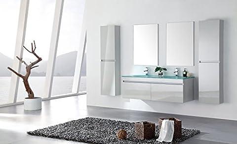 Ensemble salle de bain double vasque blanc laqué 142 cm - LEA BLANC - 2 Miroirs - 2 colonnes - Meuble sous vasque