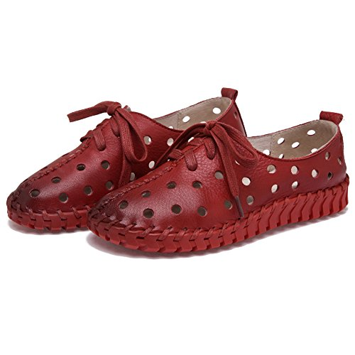 Shenn Donna Cavo Basso tallone ozio Pelle Moda Sneaker Rosso