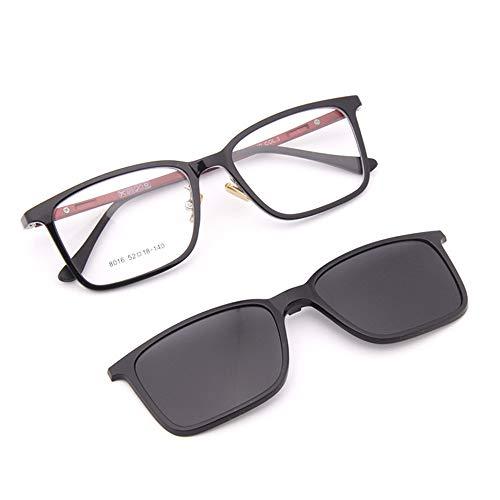KOMNY Ultralight Kunststoff Stahl Bein TR90 Dual-Use Vollformat polarisierte Sonnenbrille weiblichen Magnet Set Spiegel Clip mit Myopie Brille