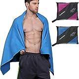 Youngdo Asciugamano in microfibra 180cm x 90cm Telo Palestra Asciugamano da Viaggio Suoer Leggero Ideale per la Spiaggia Palestra Nuoto Yoga e Sport (Blu)