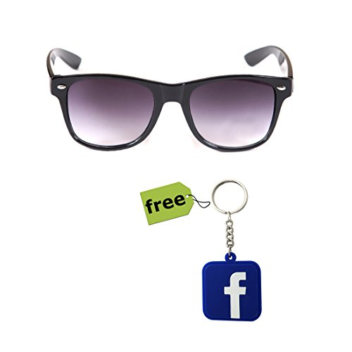 Elligator Trendy Black Wayfarer Sunglass With Stylish Facebook Key Chain Combo (Set Of 2)  available at amazon for Rs.179