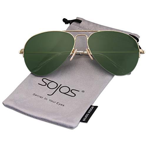 SOJOS Herren Damen Sonnenbrille Zwei Brücken Klassisch SJ1106 mit Gold Rahmen/G15 Linse