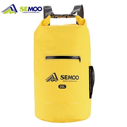 Semoo Bolsa estanca impermeable 20 litros, para deportes y playa (kayak, pesca, rafting, buceo, camping, esquí, escalada, senderismo) con correa para el hombro, color Amarillo