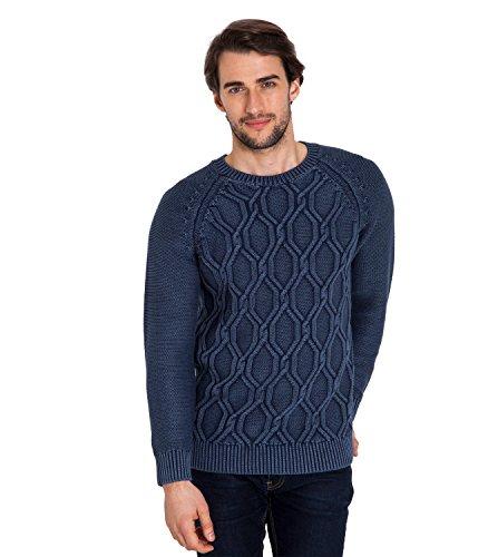 WoolOvers Grobstrickpullover mit Rundhalsausschnitt und Zopfmuster aus 100 % Baumwolle für Herren Indigo Dye Effect