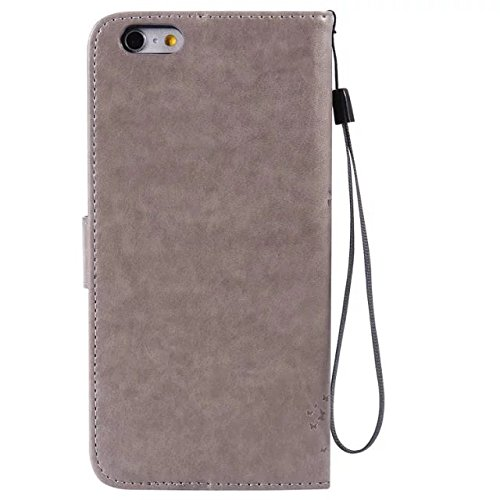 DaYiYang Case Cover IPhone 6s plus Fall, Normallack-erstklassiger PU-lederner Fall-Prägen-Muster-Schlag-Standplatz-Fall-Abdeckung mit Karte und Bargeldschlitze für iPhone 6s plus ( Color : Green ) Gray