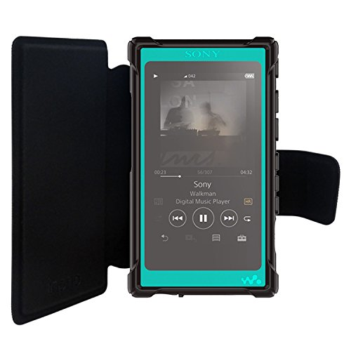 inorlo PU Leather Flip Case Cover for Sony Walkman NW-A35, NW-A45 MP3 Player, with Magnetic Closure Strap and Reinforced TPU Housing + Screen Protector (Black)