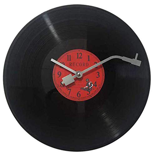 WYJW Imita un Disco de Vinilo Musical La manecilla de los Minutos es como la Aguja de un Tocadiscos. Reloj de Pared de diseño Retro de 30 cm de ...