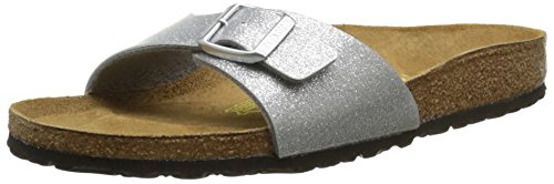 BIRKENSTOCK Damen Madrid Sandalen, Silber (Magic Galaxy Silver), 42 EU (8 UK)(Schmal) (Weiches Fußbett Boston)