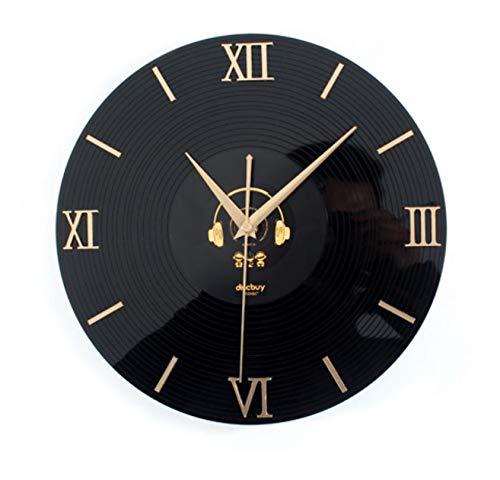 wczzh 12 Zoll(30cm) Modern Quartz Lautlos Wanduhr Uhr Uhren Wall Clock 3D Stereo Vinyl CD Rekord Wanduhr Mode kreative Wanduhr Gold Digitale Headset-Version