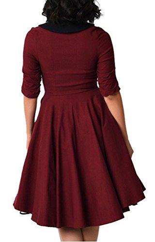 Ghope Mesdames genou millésime robe des années 50 rockabilly robe de soirée robe de fête WeinRouge