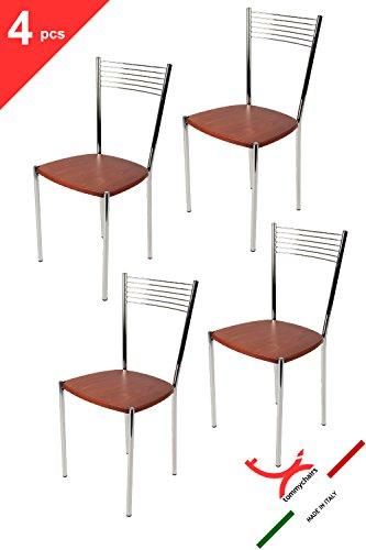 Tommychairs - set 4 sedie moderne e di design elegance per cucina bar salotti e sala da pranzo, con robusta struttura in acciaio cromato e seduta in legno colore ciliegio