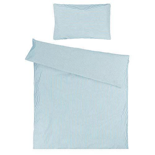 Sugarapple Kinderbettwäsche, 2 tlg. Set mit Deckenbezug 100 x 135 cm und Kissenbezug 40 x 60 cm, Kinder Bettwäsche aus 100% Baumwolle mit Reißverschluss, Streifen hellblau