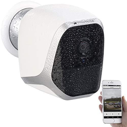 VisorTech Aussenkamera: IP-HD-Ãœberwachungskamera mit App, IP65, bis 6 Monate Batteriebetrieb (Kamera Batterie)
