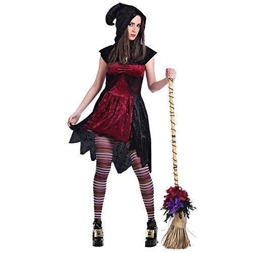 amen schwarz rot Kleid mit Kapuze für Halloween - L (Feuer Frau Halloween Kostüm)