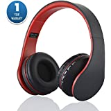 Acid Eye Over-Ear Bluetooth Headphones with Mic for iPhone/Nokia/HTC/Samsung/LG/Moto/iPad/PSP (Red)