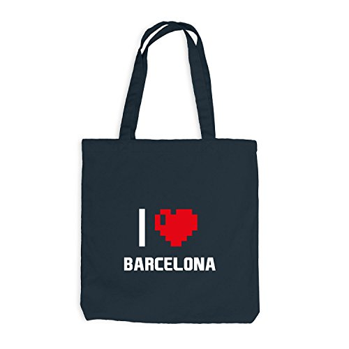Borsa Di Juta - Amo Barcellona - Spain Travel Heart Heart Pixel Dark Grey