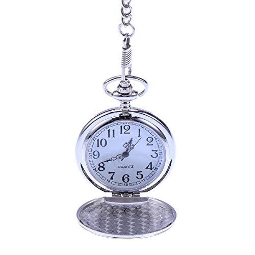 NICERIO Herren Retro Quarz Taschenuhr mit Geschenkbox,Silber