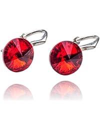 be880890dc28 Crystals   Stones   Rivoli   8 mm   Light Siam   Pendientes – Pendientes  con Cristales de Swarovski Elements