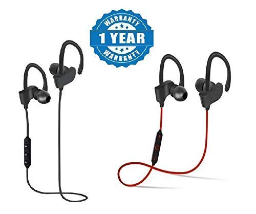 Shopzie Qc-10 Bluetooth SPORTS Jogger Wireless Stereo Sport Earphones Hands-free Stereo Headphone Running Gyming Jogging Head Set Hiking Exercise Sweatproof Hi-Fi Sound Hands-free Calling (Color may vary)