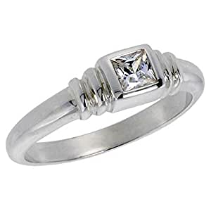 Sterling Silver .30 Carat Size Princess Cut Cubic Zirconia Solitaire Bridal Ring (Available in Sizes L to T) size L
