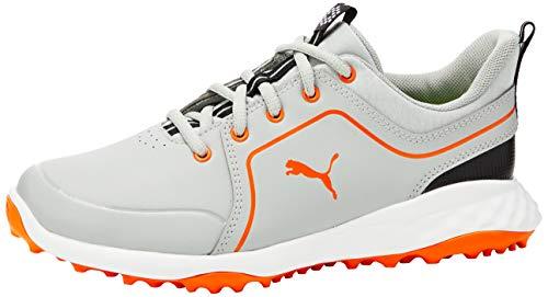 PUMA Jungen Grip Fusion 2.0 JRS Golfschuhe, Grau (HIGH Rise-Vibrant ORANGE 02), 37 EU