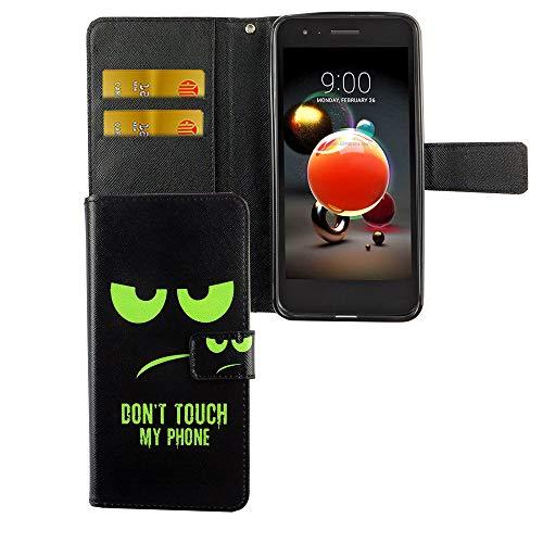König Design Dont Touch My Phone Handy-Hülle geeignet für LG K8 / K9 2018 Bookstyle Schwarz - Wallet Case Kunst-Leder Klapphülle mit Magnet-Verschluss und Kartenfach und Smiley Grün