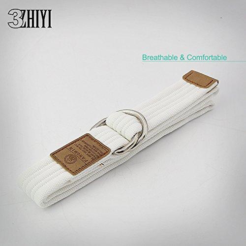 3ZHIYI Leinwandgürtel Unisex Mode Weicher Bequemer Riemen Doppelschleife Metallschnalle 8-Weiß