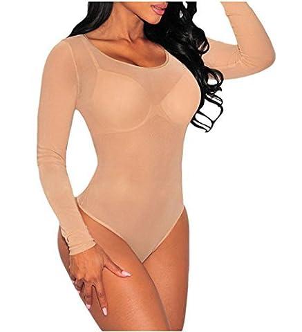 Cfanny Femmes Col Mork Translucide Maille Transparente Body, Beige, Small