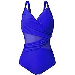FeelinGirl Traje de Baño Monokini con Uno/Dos Tirantes de Una Pieza Talla Grande para Mujer Dos Tirantes-Azul XXL